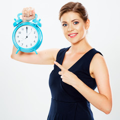 Business woman pointing her finger on watch.