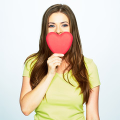 woman day concept portrait with model holding heart