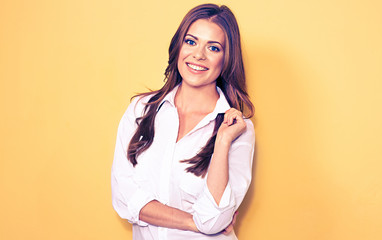 young smiling business woman portrait . white shirt