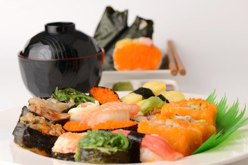 Set of Sushi Roll Japanese food with Chopsticks and Miso soup