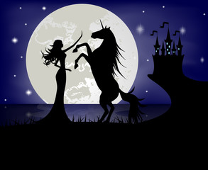 Silhouette of beautiful girl and unicorn