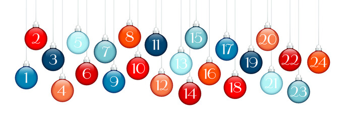 Advent Calendar Hanging Christmas Balls Blue/Red