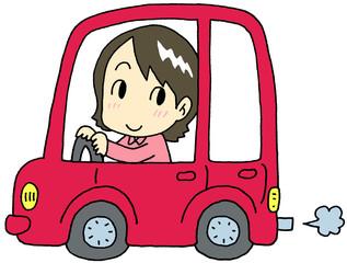 自動車 赤 女性