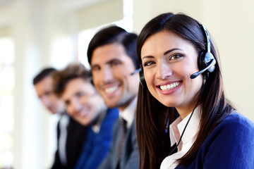 businesspeople and colleagues in a call center office