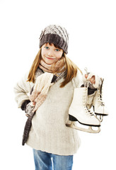 Little girl with figure skates on white background