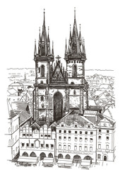 Vector drawing of Church Our Lady before Tyn in Prague, Czech Re