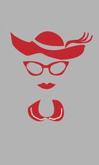 Cara de mujer en rojo sobre fondo gris