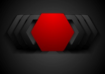 Red and black hexagon shapes logo