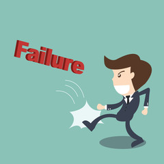 Businessman kicking  failure text - business concept