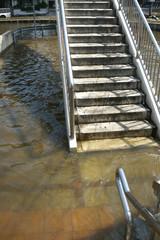 Flood at the flyover stairway at Bangkok, Thailand
