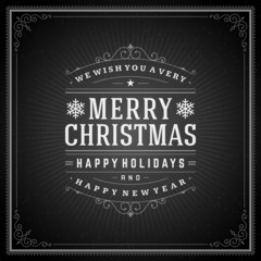Christmas retro typography and ornament vector background