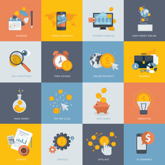 Flat design concept icons for finance