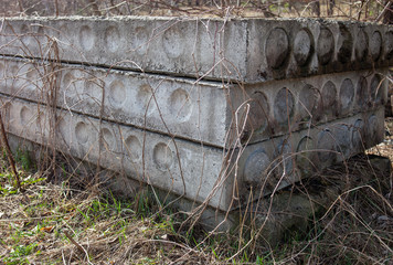Stack of the old concrete blocks