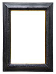 Wooden black vintage frame isolated on white background