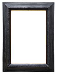 Wooden black vintage frame isolated on white background