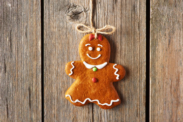Christmas homemade gingerbread girl cookie