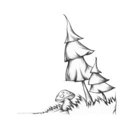 Tannenbäume und ein Fliegenpilz im Gras