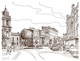 Vector drawing of central street of old european town, Vilnius