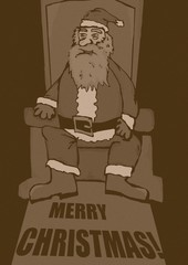 Santa Claus on throne vintage