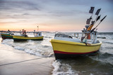 Fishing boats on Baltic Sea beach in Karlikowo, Sopot, Poland