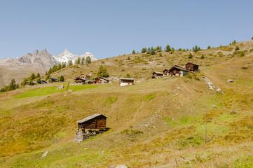Zermatt, Dorf, Schweizer Alpen, Alm, Bergbauer, Sommer