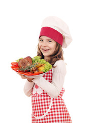 happy little girl cook with big turkey drumstick