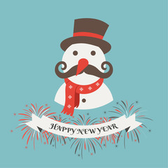 Happy new year 2015. Greeting card with happy snowman.