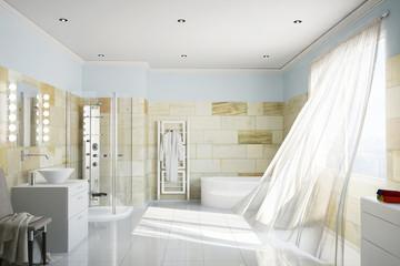 Bad aus Terrakotta mit Gardinen