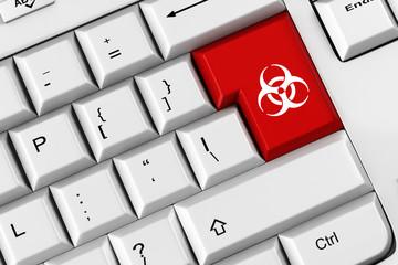 Symbol für Biohazard auf Tastatur