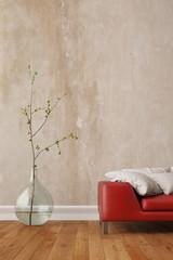 Wand im Wohnzimmer mit Sofa