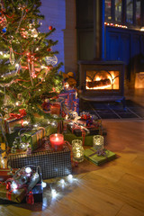 Christmastime, a lot of beautiful gifts under the Christmas  tre