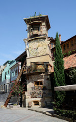 Falling clock tower of Tbilisi's puppet theatre,Georgia