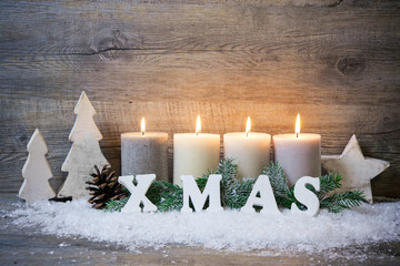 Background with candles and snowflakes for Christmas