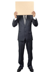 Young man covering the face with blank cardboard