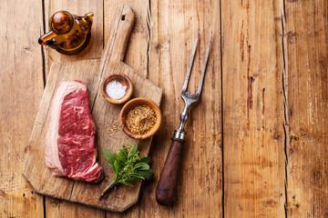 Raw fresh meat of South American premium beef New York steak Str