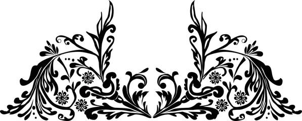 symmetric black design with floral curls