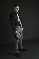 Elegant young man with hat