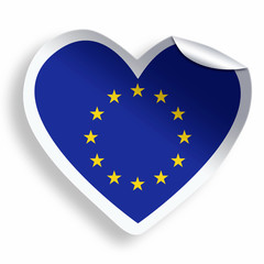 Heart sticker with flag of European Union isolated on white