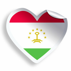 Heart sticker with flag of Tajikistan isolated on white