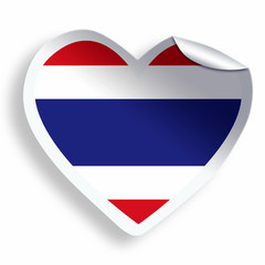 Heart sticker with flag of Thailand isolated on white