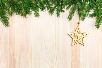 Carved golden wooden star