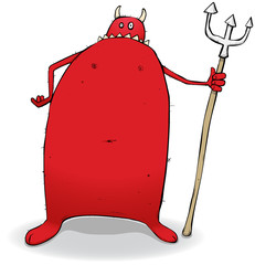 Fat Red Devil Cartoon Character