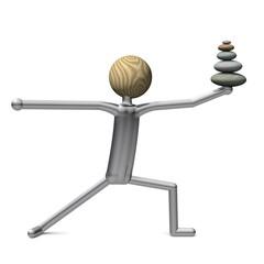 Yoga Position Krieger mit Steinturm