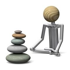 Yoga Position Lotussitz mit Steinturm