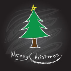 Merry christmas and happy new year on a blackboard