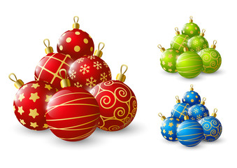 Xmas balls on white background