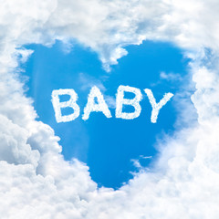 baby word on blue sky