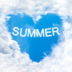 summer word on blue sky