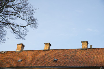 Beautiful rooftop with three chimneys,  Sweden