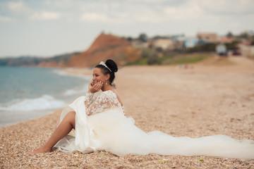 Beautiful bride on the beach